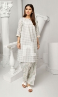 Grey Printed Stitched Slub Lawn Shirt & Printed Shalwar - 2PC