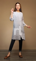 Grey Dyed Stitched Cotton Button Down Shirt - 1PC