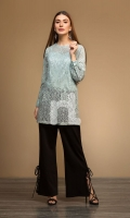 Green Dyed Stitched Lace Net Cotton Shirt - 1PC