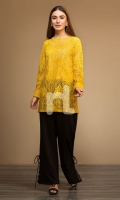 Yellow Dyed Stitched Lace Net Cotton Shirt - 1PC