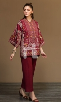 Maroon Printed Embroidered Stitched Karandi Jacket - 1PC