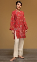 Red Digital Printed Stitched Khaddar Shirt - 1PC