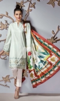 - Basic Neckline & V Slit  - Embroidered Hem & Sleeves  - Printed Silk Dupatta