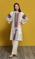 - Long Kurta  - Band Neckline  - Buttons on Piping Slit  - Pleated Sleeves