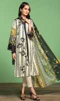 Printed Lawn Shirt: 3.5 Mtr Dyed Cambric Trouser: 2.5 Mtr Printed Voil Dupatta: 2.5 Mtr Embroidered Front