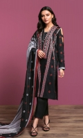 Printed Lawn Shirt: 3.5 Mtr Dyed Cambric Trouser: 2.5 Mtr Printed Rib Voil Dupatta: 2.5 Mtr Embroidered Front + Neckline (Patch)
