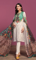 Digital Printed Lawn Shirt: 3 Mtr Digital Printed Rib Voil Dupatta: 2.5 Mt