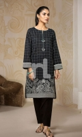 Black Printed Stitched Lawn Shirt - 1PC