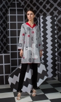 Grey Printed Stitched Lawn Shirt (1PC)