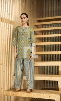 Blue Printed Stitched Lawn Shirt & Gold Printed Shalwar - 2PC