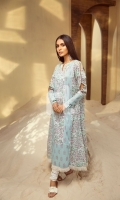 Blue Printed Stitched Lawn Frock - 1PC