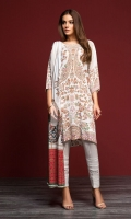 - Digital Printed Linen Shirt: 3 Mtr  - Digital Printed Linen Dupatta: 2.5 Mtr  - Dyed Linen Trouser: 2.5 Mtr