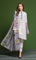 - Printed Khaddar Shirt: 3.5 Mtr  - Printed Karandi Dupatta: 2.5 Mtr  - Dyed Khaddar Trouser: 2.5 Mtr  - Embroidered Sleeves