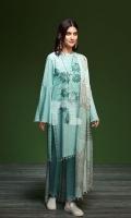 - Printed Khaddar Shirt: 3.5 Mtr  - Printed Karandi Dupatta: 2.5 Mtr  - Dyed Khaddar Trouser: 2.5 Mtr  - Embroidered Front