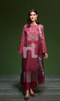 - Printed Khaddar Shirt: 3.5 Mtr  - Printed Karandi Dupatta: 2.5 Mtr  - Dyed Khaddar Trouser: 2.5 Mtr  - Embroidered Neckline