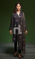 - Printed Khaddar Shirt: 3.5 Mtr  - Printed Karandi Dupatta: 2.5 Mtr  - Dyed Khaddar Trouser: 2.5 Mtr  - Embroidery Spray