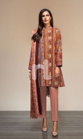 - Printed Karandi Shirt: 3.5 Mtr  - Printed Mix Wool Shawl: 2.5 Mtr  - Dyed Karandi Trouser: 2.5 Mtr