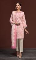 - Printed Karandi Shirt: 3 Mtr  - Printed Pashmina Shawl: 2.5 Mtr  - Dyed Karandi Trouser: 2.5 Mtr