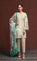 - Printed Karandi Shirt: 3.5 Mtr  - Printed Pashmina Shawl: 2.5 Mtr  - Dyed Karandi Trouser: 2.5 Mtr