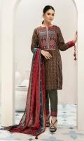 - Printed Super Fine Lawn Shirt: 3.5 Mtr  - Printed Voil Dupatta: 2.5 Mtr                       -1 Embroidered Neckline + Border (Patch)