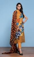 -Digital Printed Super Fine Lawn Shirt: 3 Mtr  -Gold Printed Voli Dupatta: 2.5 Mtr  -Dyed Cambric Trouser: 2.5 Mtr