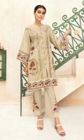 -Printed Super Fine Lawn Shirt: 2Mtr  -Printed Cambric Trouser: 2Mtr  -Embroidered Front + 2 Motifs (Patch) + Border (Patch)