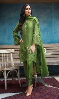 A three piece monochrome ensemble in the most beautiful shade of green, with intricate embroidery on its hem, sleeves and pants plus glitzy buttons for the right amount of glam