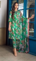 A raw silk oriental print in a gorgeous green colour, with fitted straight pants buttoned on the side to perfection, and a silk dupatta from our latest range of luxury pret.