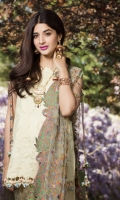 Front:  Embroidered Cutwork Lawn 1.20M Back: Digital Printed Lawn 1.20M Sleeves: Digital Printed Lawn 0.6M Trouser: Dyed Cambric 2.5M Dupatta: Embroidered Net 2.5M Embroideries: Front Daman Border Motif Patch – 2