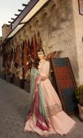 Front:  Jacquard 2.2M Back: Jacquard 2.2M Sleeves: Jacquard 0.6M Trouser: Dyed Cambric 2.5M Dupatta: Digital Printed Silk 2.5M Embroideries: Front Daman Border Neckline Sleeve Border Motif – 2