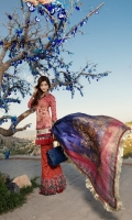 Front:  Printed Lawn 1.20M Back: Printed Lawn 1.20M Sleeves: Printed Lawn 0.6M Trouser: Printed Cambric 2.5M Dupatta: Digital Printed Silk 2.5M Embroideries: Front Daman Border – 3 Motif Patch – 2 Neck Patti Sleeve Border