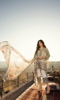 Front:  Digital Printed Lawn 1.20M Back: Digital Printed Lawn 1.20M Sleeves: Embroidered Cutwork 0.6M Trouser: Printed Cambric 2.5M Dupatta: Digital Printed Chiffon 2.5M Embroideries: Front Daman Border Neckline Sleeve Border Pant Border