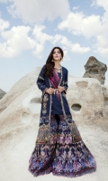Front:  Embroidered Cotton Net 1.20M Back: Cotton Net 1.20M Sleeves: Embroidered Cotton Net 0.6M Trouser: Digital Printed Cambric 2.5M Dupatta: Digital Printed Silk 2.5M Embroideries: Front Daman Border Motif Patch – 2 Neckline Patti Sleeve Patti Front Daman Patti
