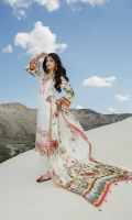 Front:  Embroidered Cotton Net 1.20M Back: Digital Printed Lawn 1.20M Sleeves: Digital Printed Lawn 0.6M Trouser: Dyed Cambric 2.5M Dupatta: Digital Printed Silk 2.5M Embroideries: Neckline Motif Patch – 2