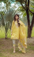 Front: 1.20m Embroidered Lawn ,  Back : 1.20m Embroidered Lawn  Sleeves: 0.6m Embroidered Lawn Pants: 2.5m Digital printed Cambric  Dupatta: 2.5m Tissue Silk Digital Printed  Embroidries: Neckline Organza Patch Sleeves Orgnanza Embroidered Border