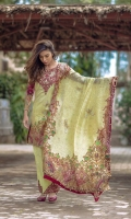 Front: 1.20m Digital Printed Lawn ,  Back : 1.20m Digital Printed Lawn  Sleeves: 0.6m Digital Printed Lawn Pants: 2.5m Dyed Cambric  Dupatta: 2.5m Digital Tissue Silk  Embroidries: Neckline 2 Trouser Patches