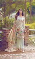 Front: 1.20m Digital Printed Lawn  Back : 1.20m Digital Printed Lawn  Sleeves: 0.6m Embroidered Net Pants: 2.5m Dyed Cambric  Dupatta: 2.5m Pure Crinkle Chiffon Digital Printed  Embroidries: Neckline Trouser Patti