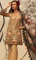 Front: Embroidered cutwork cotton net Back : Digital printed lawn Sleeves: Digital printed lawn Pants: Dyed cambric  Dupatta: Digital printed tissue silk  Embroideries: 1)Silk border for front 2)Silk patti for neckline