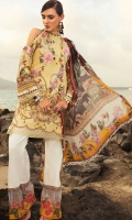 Front: Digital printed lawn Back : Digital printed lawn Sleeves: Digital printed lawn Pants: Printed cambric  Dupatta: Digital printed tissue silk  Embroideries: 1)Motif patch for front 2)Patti for neckline 03) Embroidered applique border for trouser
