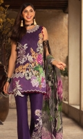 Front: Digital printed lawn Back : Digital printed lawn Sleeves: Digital printed lawn Pants: Printed cambric  Dupatta: Digital printed pure chiffon Embroideries: 1)Motif patch for front 2)Applique neckline 03) Applique border for trouser