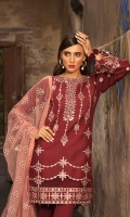 Front: Embroidered lawn Back : Embroidered lawn  Sleeves: Embroidered lawn Pants: Dyed cambric  Dupatta: Embroidered net Embroideries: 1)Border for front 2)Border for sleeves 03) Border for dupatta