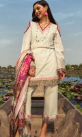 Front: Embroidered schiffli lawn Back : Printed lawn Sleeves: Printed lawn Pants: Dyed cambric  Dupatta: Digital printed jacquard Embroideries: 1)Tilla border for front 2)Embroidered patti