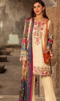 Front: Embroidered lawn Back : Digital printed lawn Sleeves: Digital printed lawn Pants: Dyed cambric  Dupatta: Digital printed tissue silk  Embroideries: 1)Neckline 2) Embroidered Border for front 03)Pani border for front