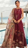 Front: Embroidered cutwork cotton net Back : Digital printed lawn Sleeves: Digital printed lawn Pants: Dyed cambric Dupatta: Digital printed tissue silk Embroideries:Silk border for front Silk patti for neckline.