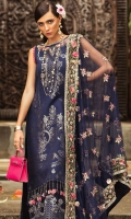 Front: Jacquard Back : Jacquard Sleeves: Jacquard Pants: Printed cambric  Dupatta: Embroidered net Embroideries: 1)Silk neckline