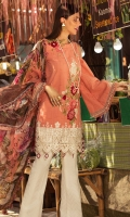 Front: Jacquard Lawn Back : Jacquard Lawn Sleeves: Jacquard Lawn Pants: Printed cambric  Dupatta: Digital printed Chiffon  Embroideries: 1)Motif Patch for Shirt 2)Motif Patch for Sleeves 3) Border for front 4) Silk Border for trouser