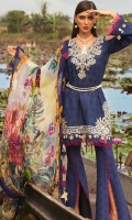 Front: Embroidered schiffli lawn Back : Embroidered schiffli lawn Sleeves: Embroidered schiffli lawn  Pants: Printed cambric  Dupatta: Digital printed pure chiffon Embroideries: 1)Silk border for shirt 2)Embroidered cutwork neckline