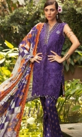 Front: Embroidered Applique lawn  Back : Digital printed lawn Sleeves: Digital printed lawn Pants: Printed cambric  Dupatta: Digital printed tissue silk  Embroideries: 1)Border for front 2)Neckline patti