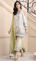 Front: Embroidered Jacquard Lorex Back: Dyed Lawn Sleeves: Dyed Jacquard Lorex Pants: Printed Cambric Dupatta: Embroidered Net Embroideries: 1) Neckline 2) Ghera Border 3) Laser Border 4) Sleeves Border 5) Extra Side Panels 6) Borders for Dupatta