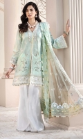 Front: Embroidered Lawn Back: Printed Lawn Sleeves: Embroidered Lawn Pants: Printed Cambric Dupatta: Embroidered Pani Net Embroideries: 1) Front Patti 2) Daman Pani Border 3) Neckline 4) Side Panels For Front